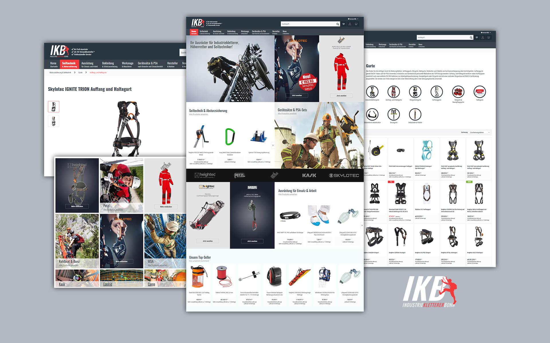 Layout und Konzept auf Shopware 5 der E-Commerce-Agentur: BS-Style GmbH. Darstellung der desktop Ansicht des Onlineshops von IKB Industriekletterer Bonn.