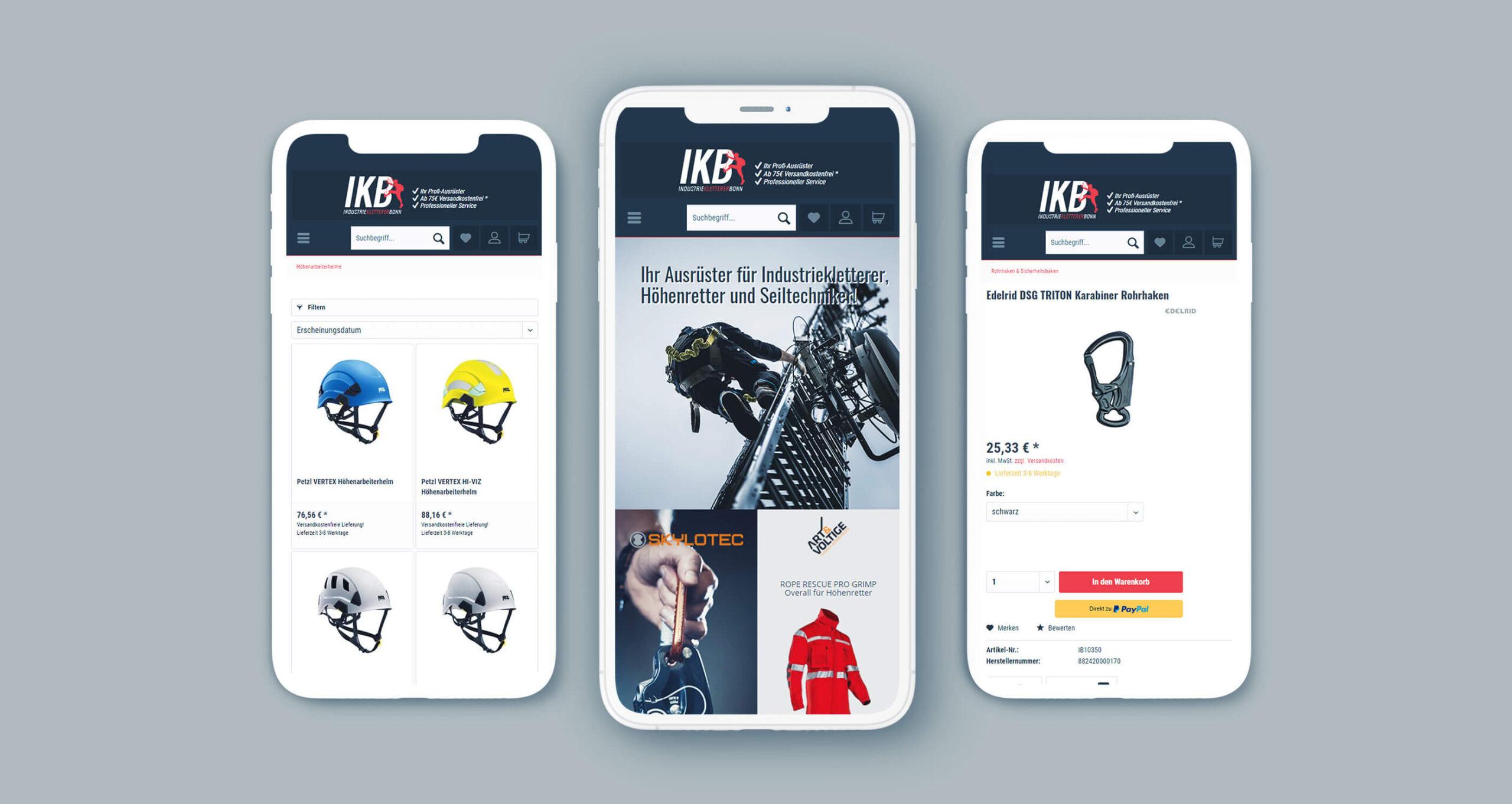 Layout und Konzept auf Shopware 5 der E-Commerce-Agentur: BS-Style GmbH. Darstellung der mobilen Ansicht des Onlineshops von IKB Industriekletterer Bonn.