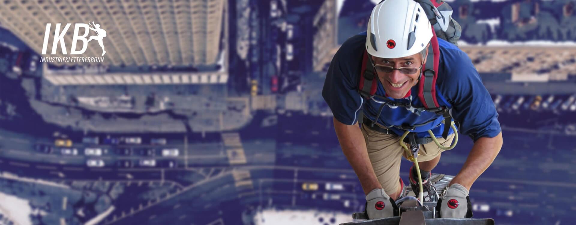 Layout und Konzept auf Shopware 5 der E-Commerce-Agentur: BS-Style GmbH. Darstellung eines Mannes, kletternd an einer hohen Außenfassade.