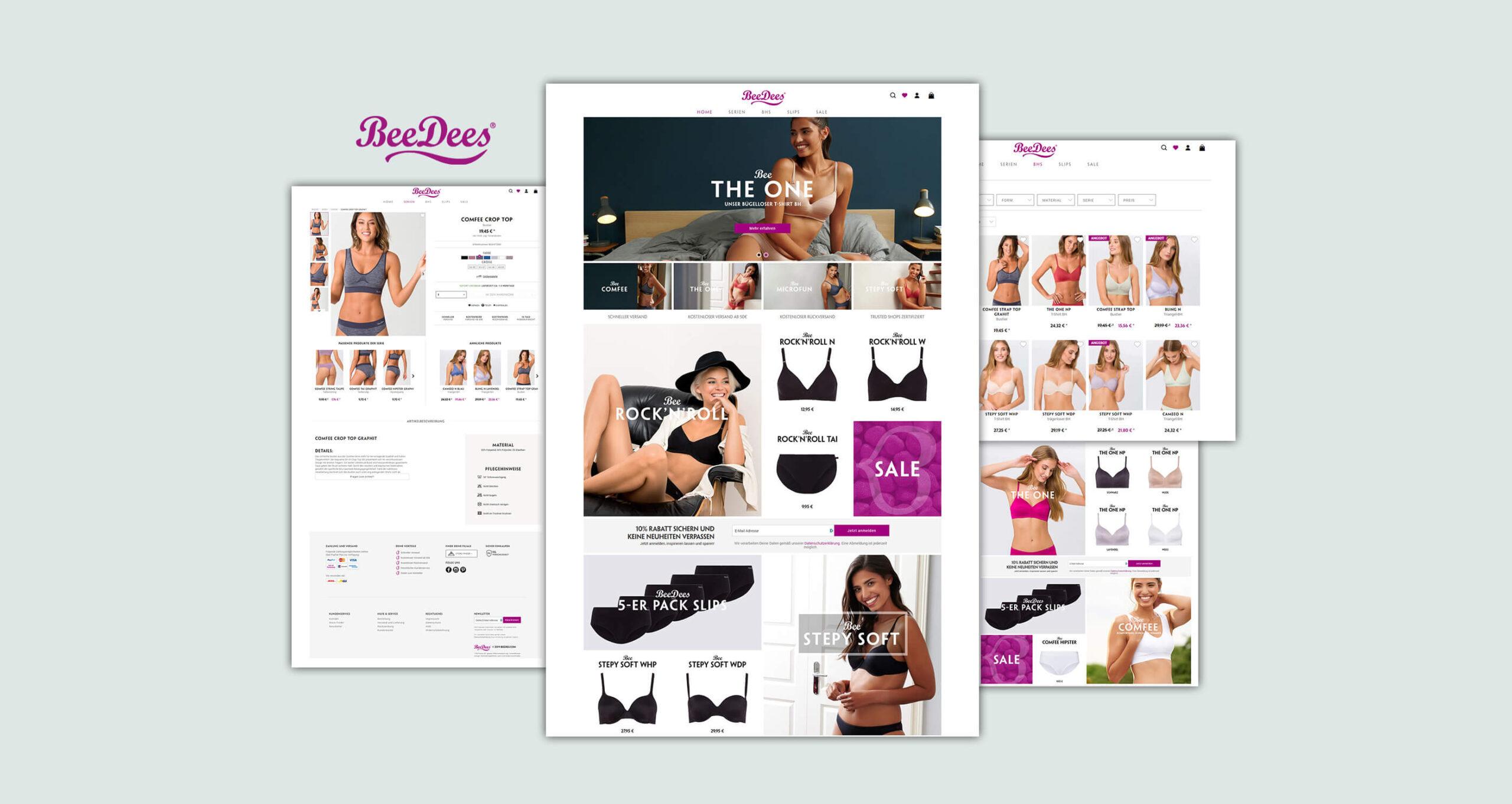 Layout und Logo der E-Commerce-Agentur: BS-Style GmbH. Darstellung der Desktop Ansicht des BeeDees Onlineshops.