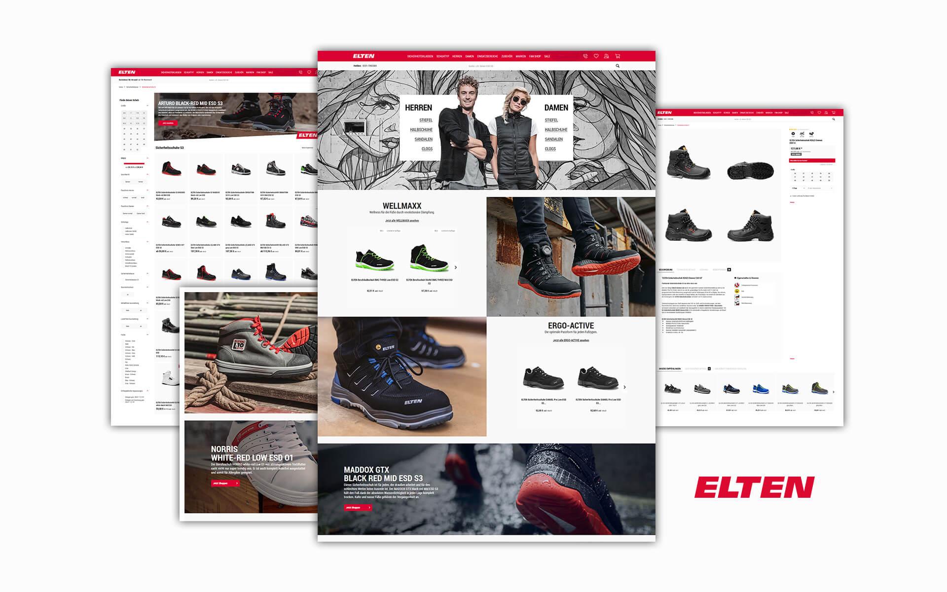 Layout und Logo der E-Commerce-Agentur: BS-Style GmbH. Darstellung der Desktop Ansicht des Onlineshops Elten.de