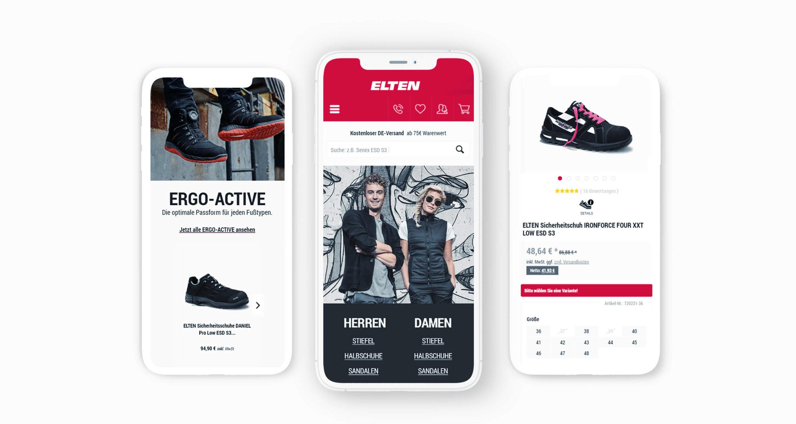 Layout und Logo der E-Commerce-Agentur: BS-Style GmbH. Darstellung der Mobilien Ansicht des Onlineshops Elten.de.