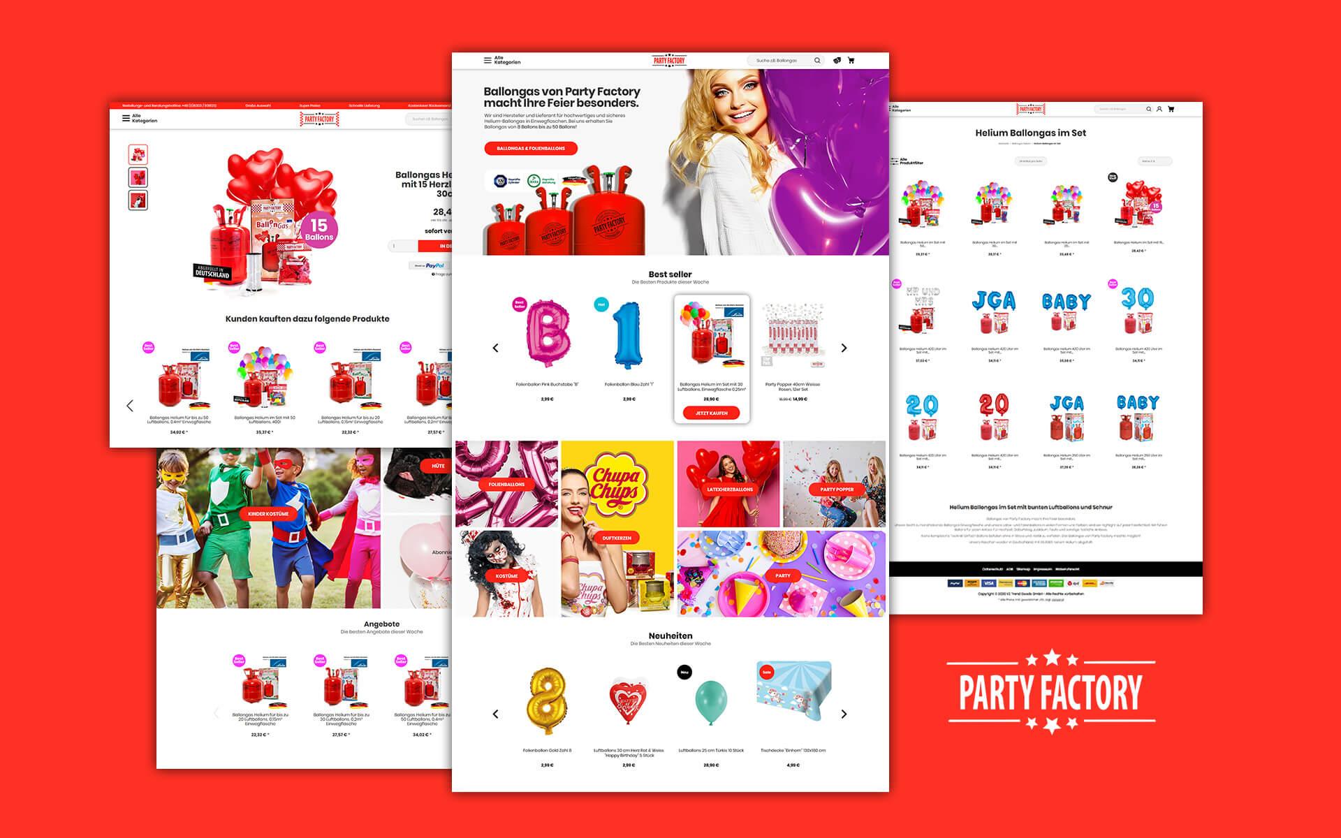 Layout und Konzept auf JTL der E-Commerce-Agentur: BS-Style GmbH. Darstellung der desktop Ansicht des Onlineshops Partyfactory.de