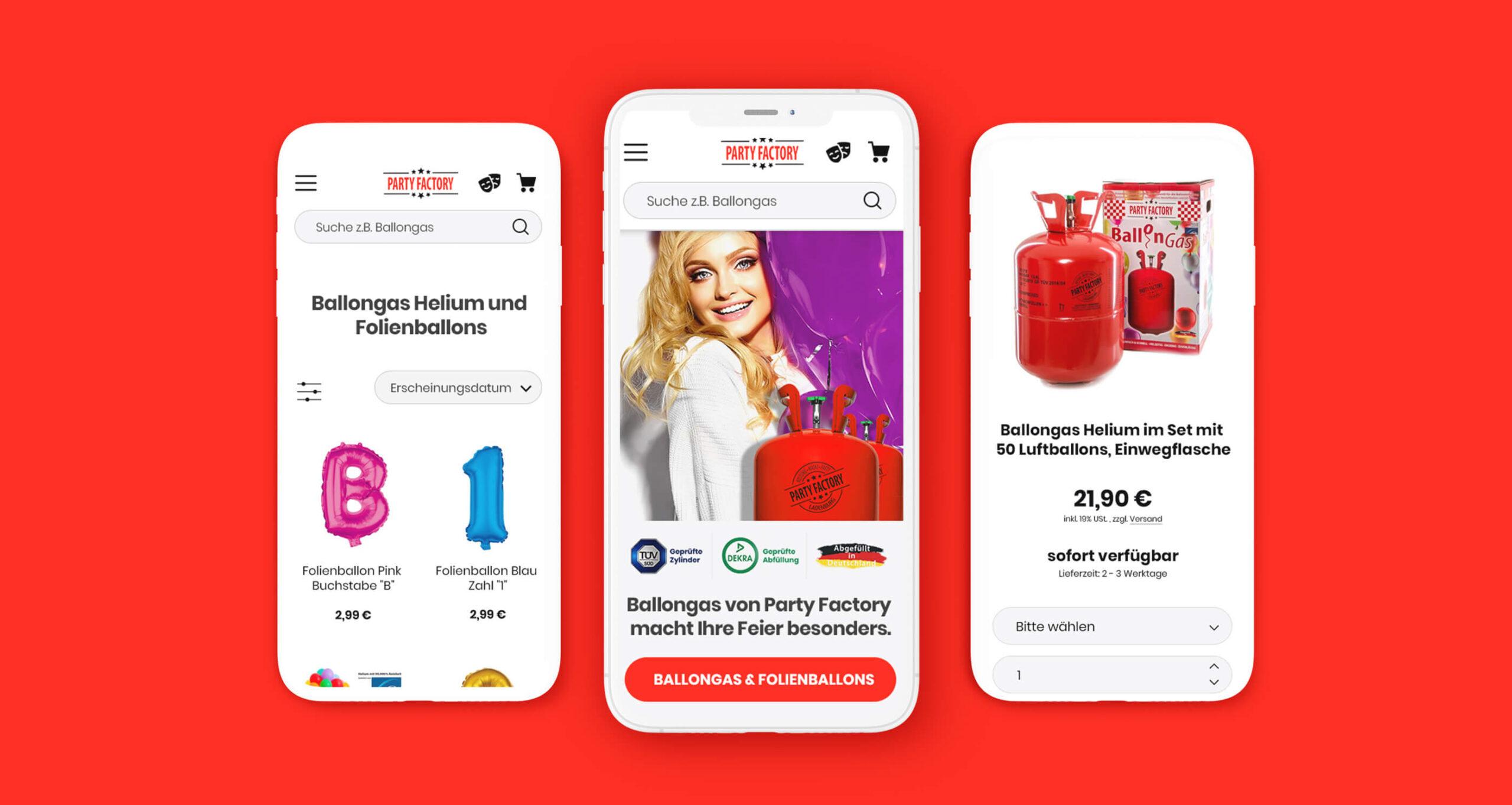Layout und Konzept auf JTL der E-Commerce-Agentur: BS-Style GmbH. Darstellung der mobile Ansicht des Onlineshops Partyfactory.de