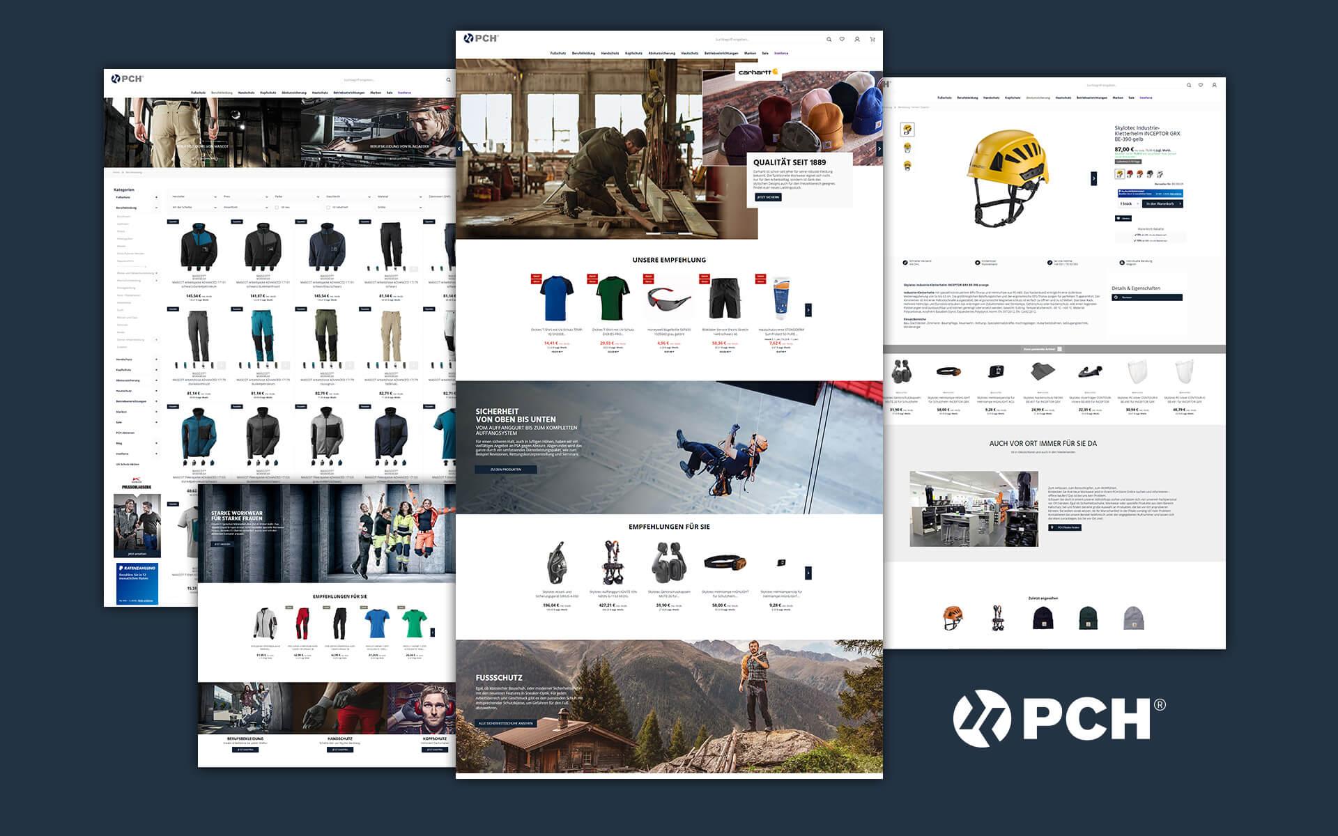 Layout und Konzept auf Shopware 5 der E-Commerce-Agentur: BS-Style GmbH. Darstellung der desktop Ansicht des Onlineshops von PCH-shop.de
