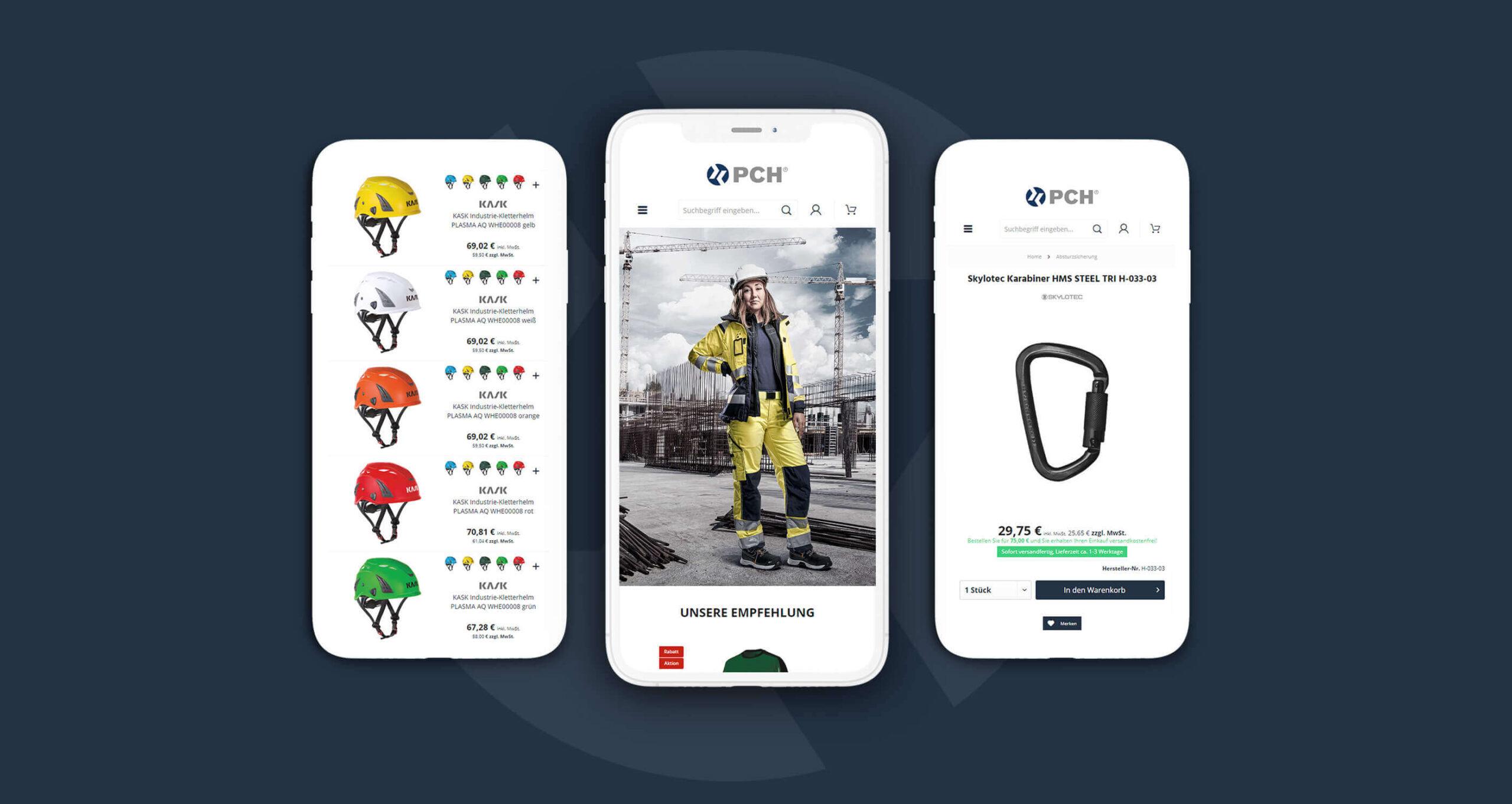 Layout und Konzept auf Shopware 5 der E-Commerce-Agentur: BS-Style GmbH. Darstellung der mobilen Ansicht des Onlineshops von PCH-shop.de