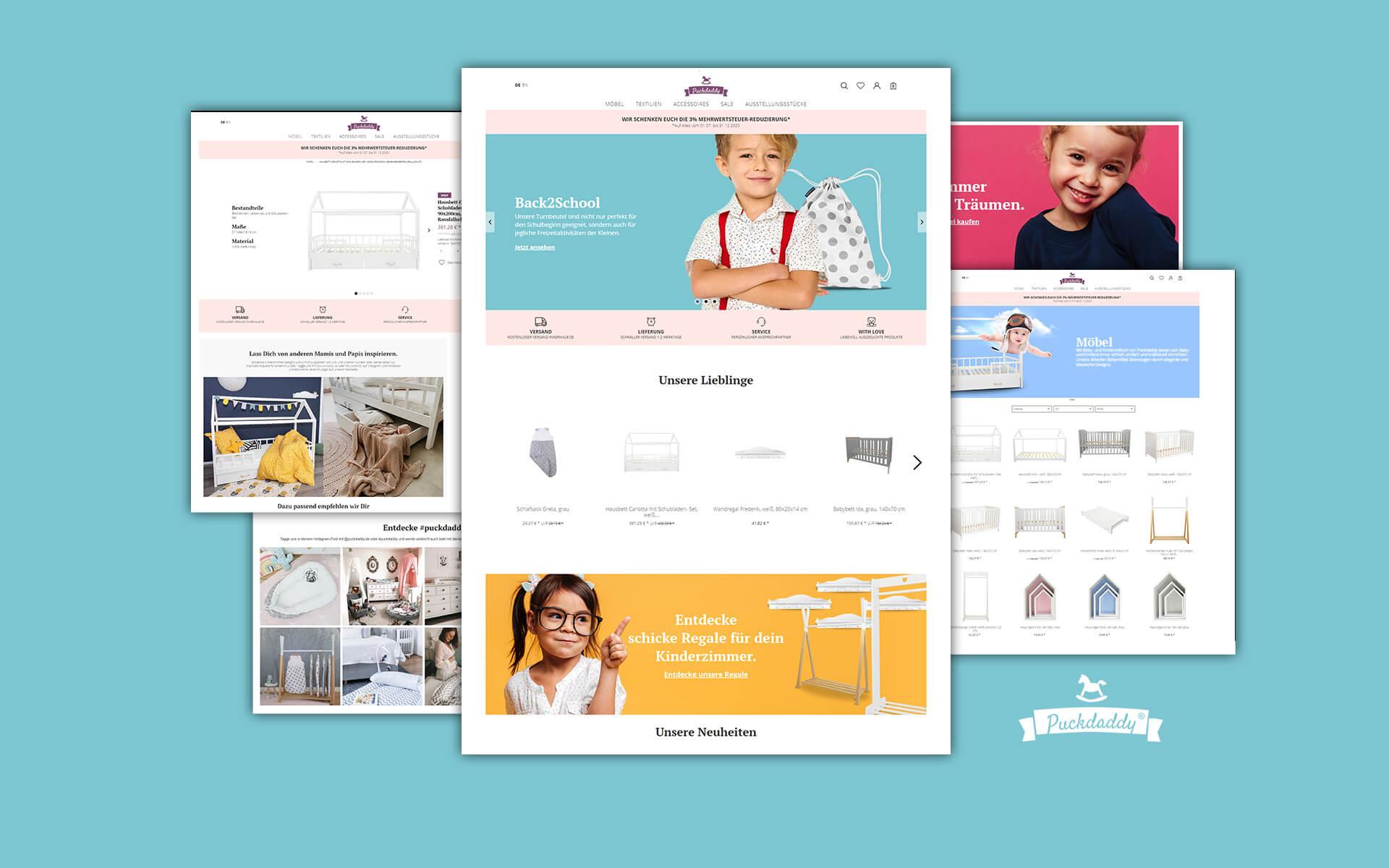 Layout und Logo der E-Commerce-Agentur: BS-Style GmbH. Darstellung der Desktopansicht des Onlineshops puckdaddy.de
