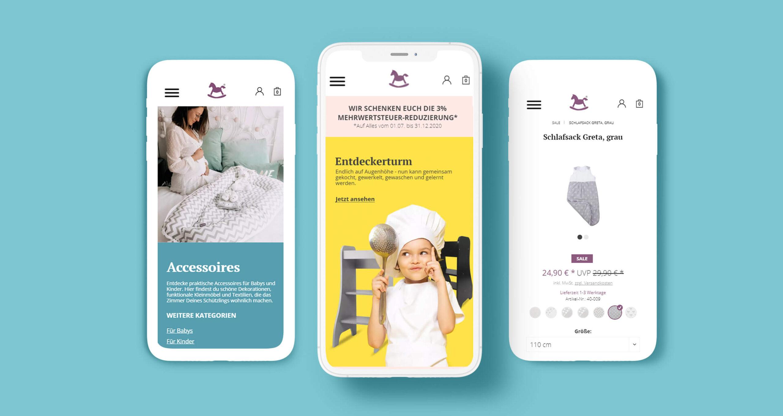 Layout und Logo der E-Commerce-Agentur: BS-Style GmbH. Darstellung der mobilen Ansicht des Onlineshops puckdaddy.de