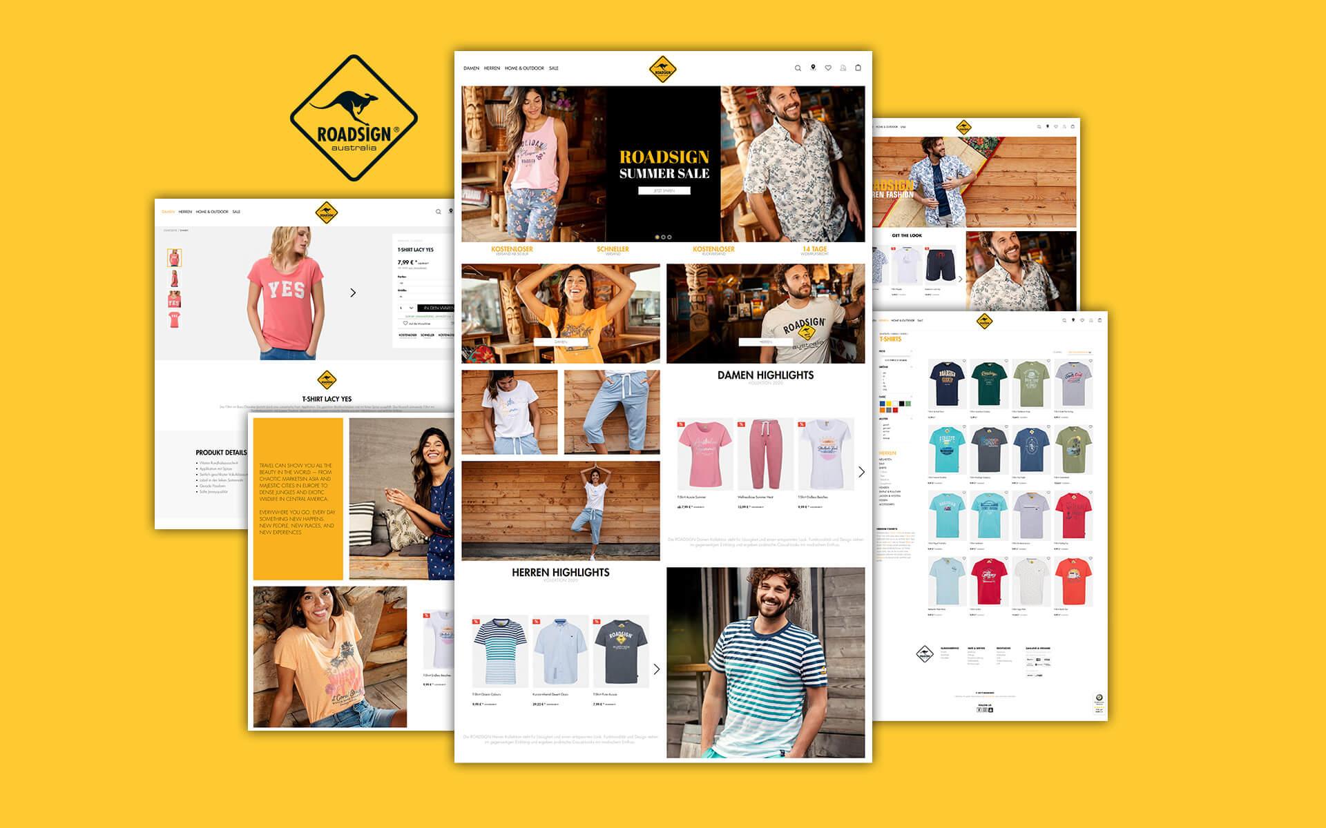 Layout und Konzept auf Shopware 5 der E-Commerce-Agentur: BS-Style GmbH. Darstellung der desktop Ansicht des Onlineshops von Roadsign.de