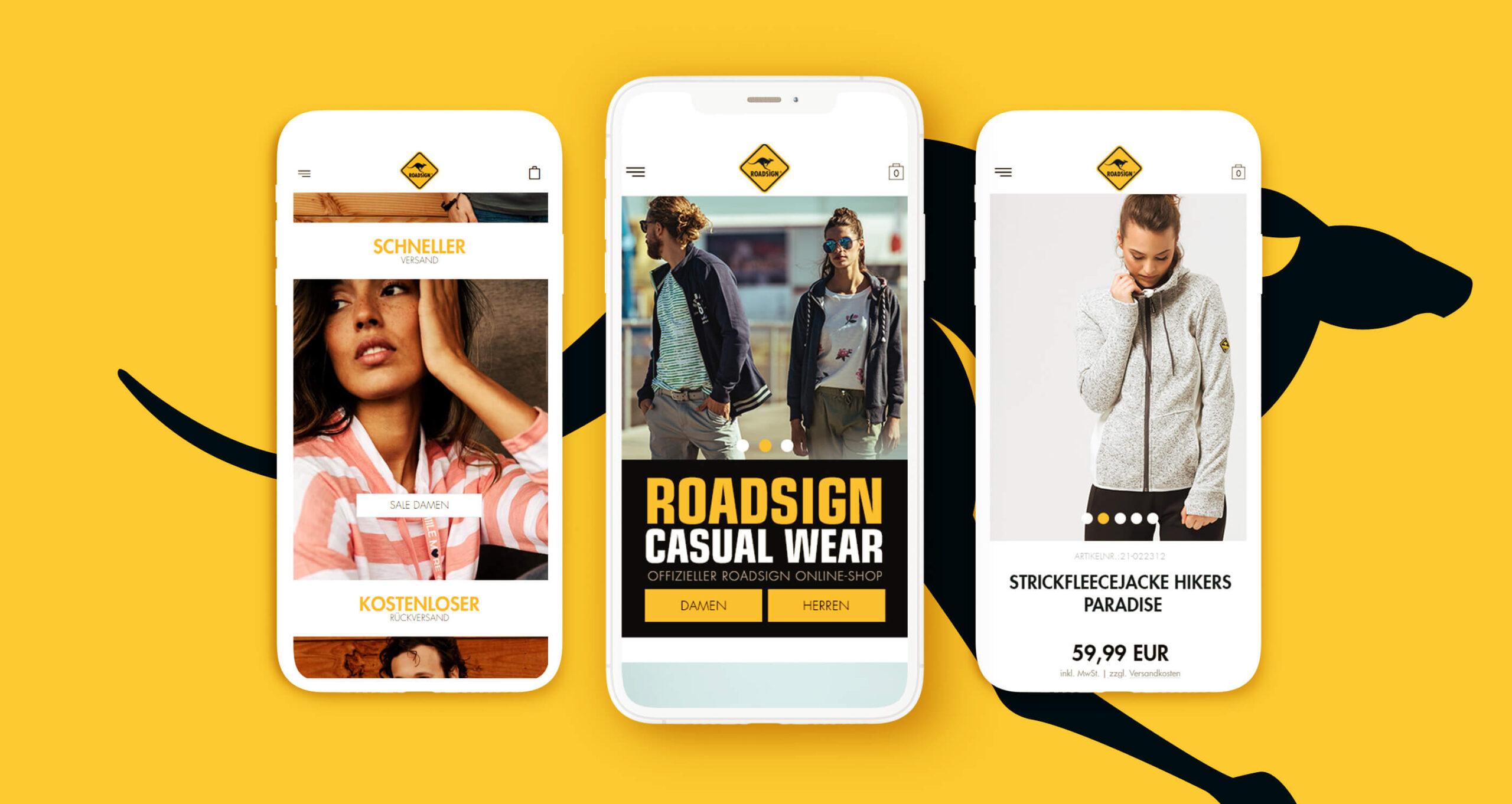 Layout und Konzept auf Shopware 5 der E-Commerce-Agentur: BS-Style GmbH. Darstellung der mobilen Ansicht des Onlineshops von Roadsign.de