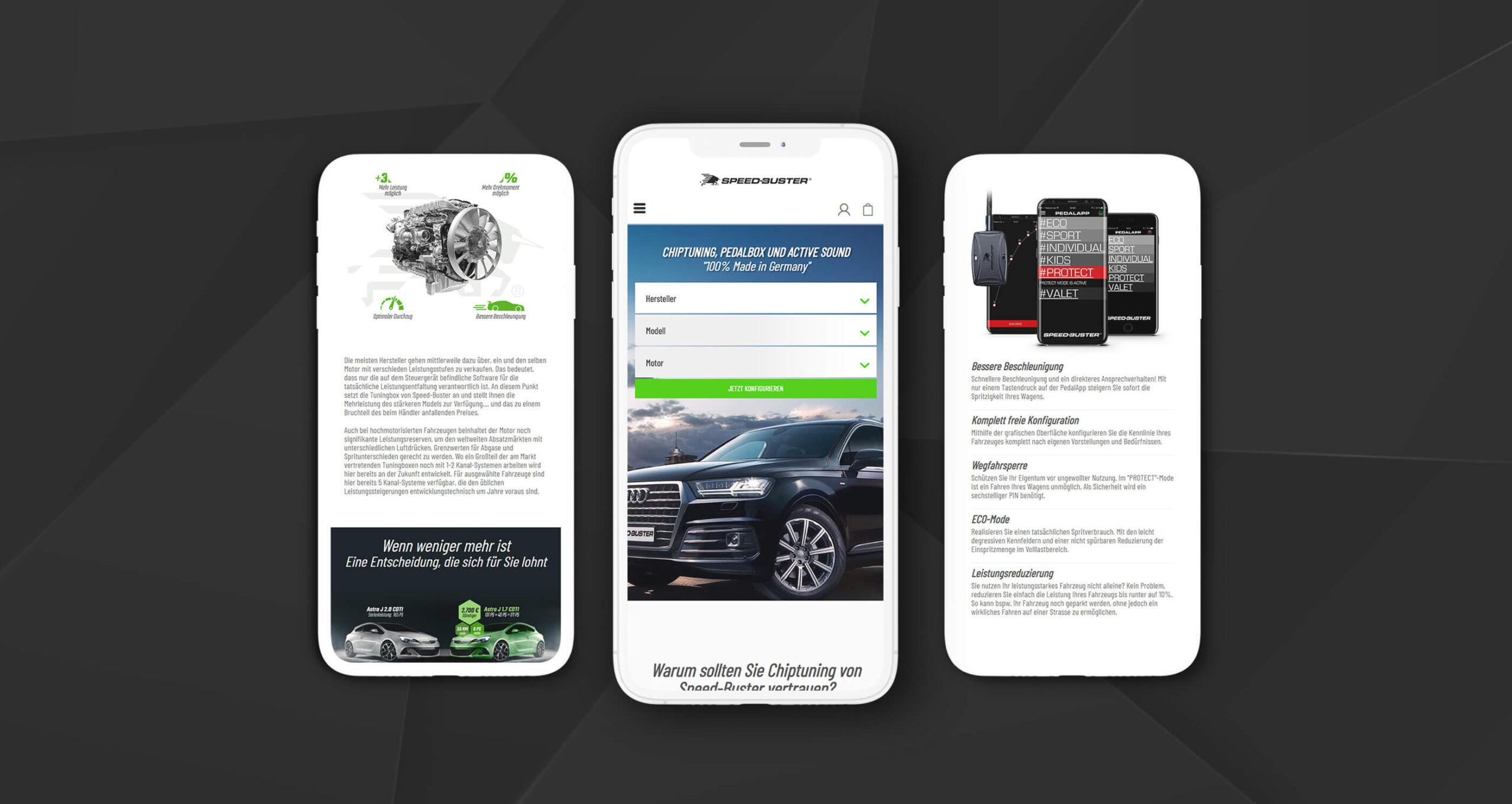 Layout und Konzept auf Shopware 5 der E-Commerce-Agentur: BS-Style GmbH. Darstellung der mobilen Ansicht des Onlineshops von chiptuning.shop