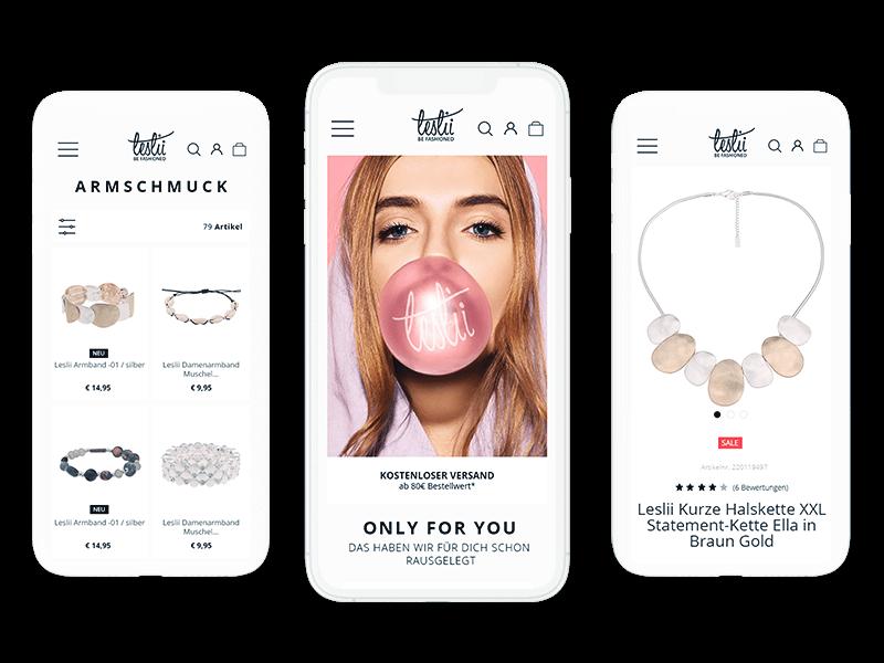 Layouting: E-Commerce-Agentur BS-Style GmbH. Mobile Preview: Shopware 5 Online Shop, Kunde: Leslii handgefertigte Accessoires.
