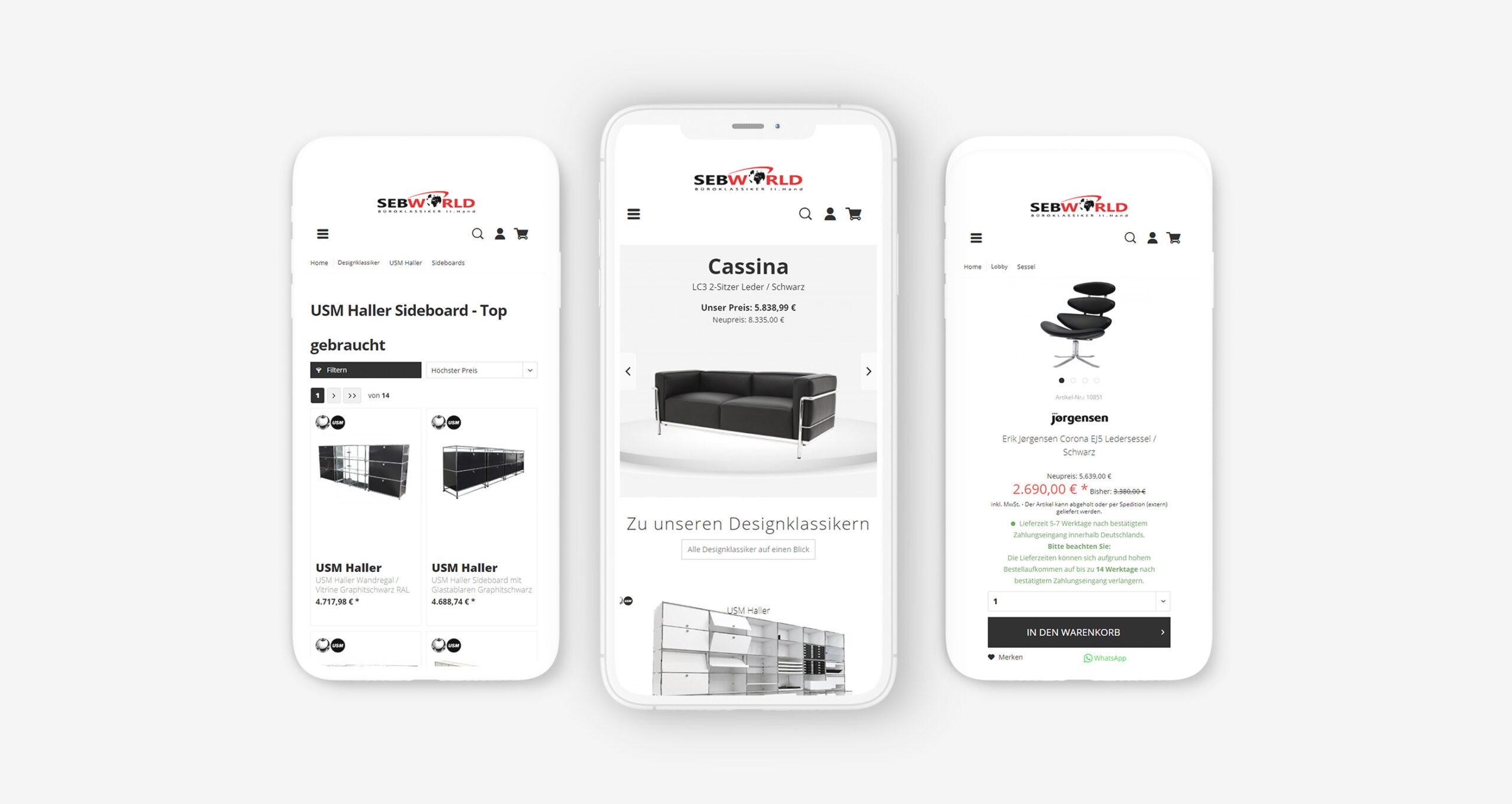 Layout und Konzept auf Shopware 5 der E-Commerce-Agentur: BS-Style GmbH. Darstellung der mobilen Ansicht des Onlineshops von sebworld.de