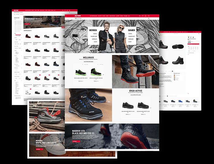 Layouting: E-Commerce-Agentur BS-Style GmbH. Desktop Preview: Shopware 5 Online Shop Enterprise Projekt, Kunde: Elten Sicherheitsschuhe