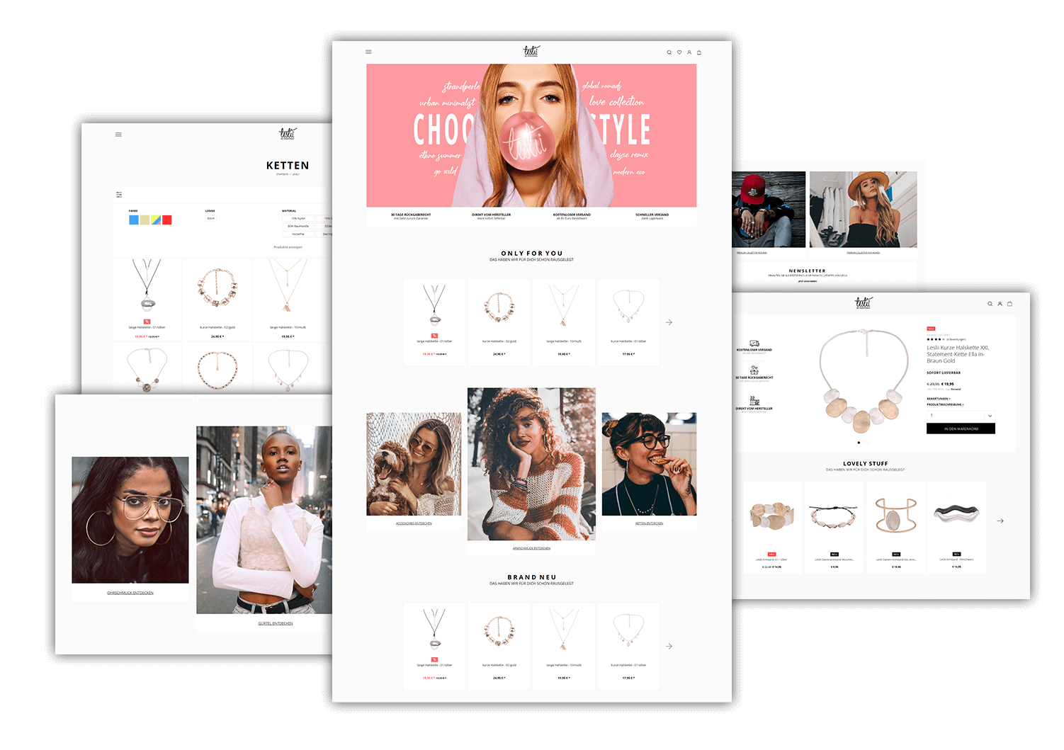 Layouting: E-Commerce-Agentur BS-Style GmbH. Desktop Preview: Shopware 5 Online Shop, Kunde: Leslii handgefertigte Accessoires.
