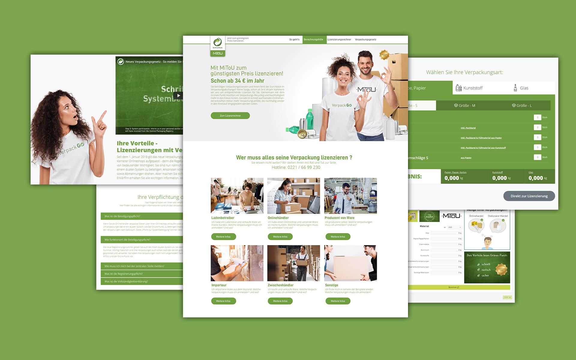 Layout und Logo der E-Commerce-Agentur: BS-Style GmbH. Darstellung der Desktop Ansicht des Grünen Punkt.