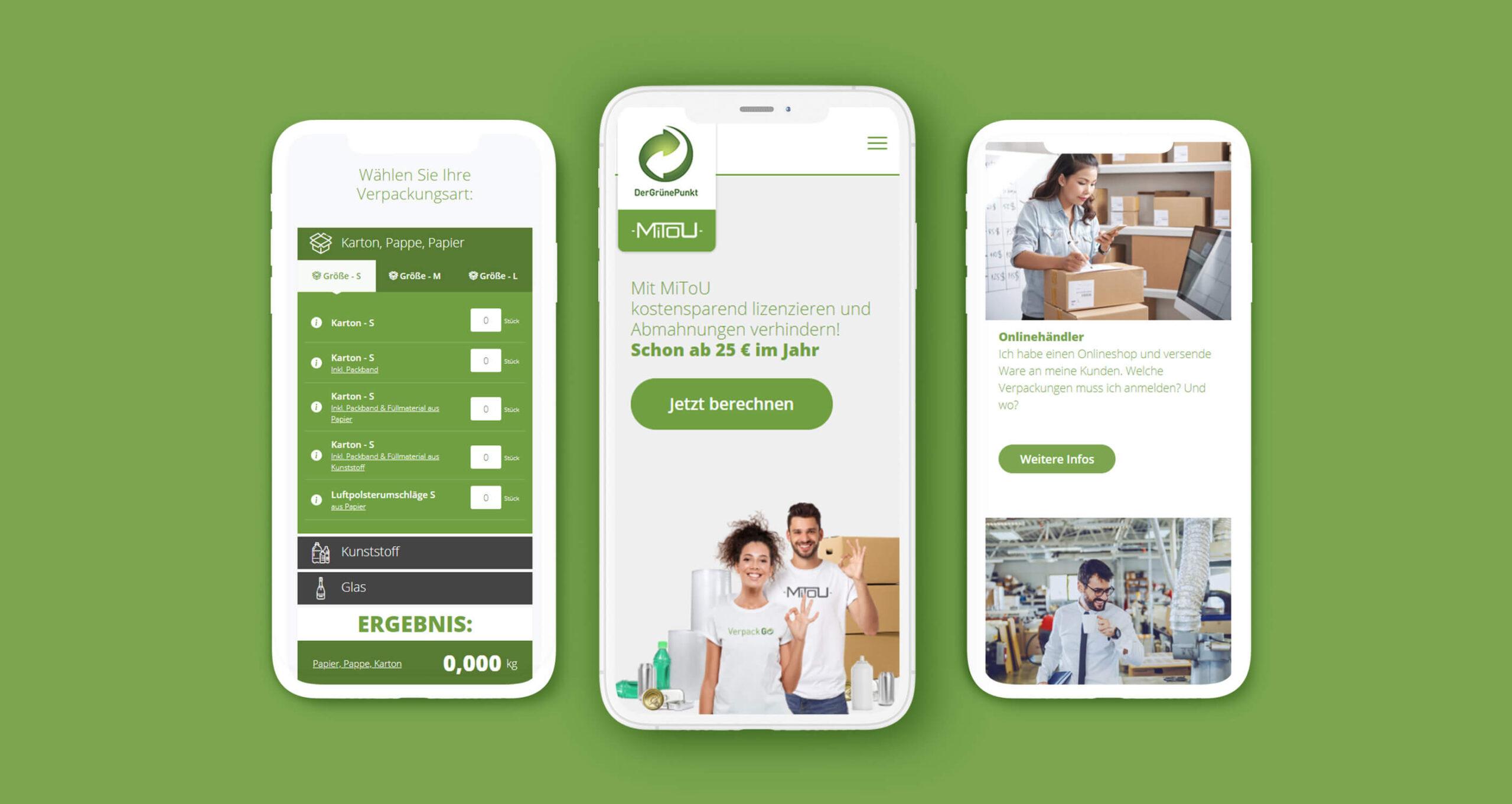 Layout und Logo der E-Commerce-Agentur: BS-Style GmbH. Darstellung der Mobilien Ansicht der WordPress Webseite des Grünen Punktes.