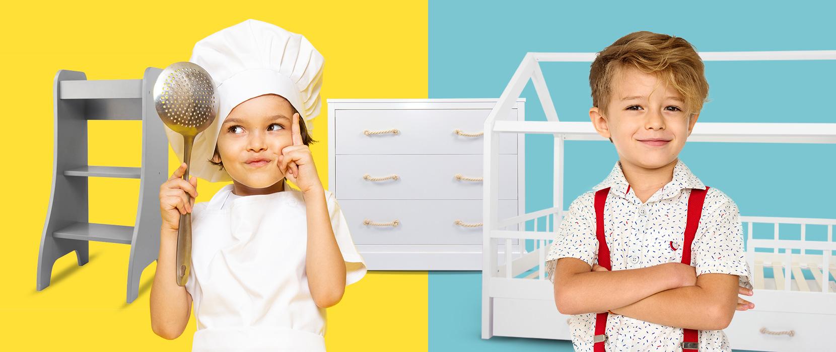 Layout und Logo der E-Commerce-Agentur: BS-Style GmbH. Darstellung eines Jungen mit Nudelkelle und Kochoutfit neben dem Entdeckerturm. Daneben ein Junge mit Hemd und Hosenträgern vor dem Hausbett Carlotta.